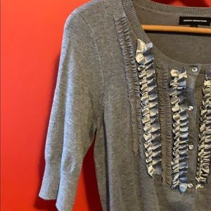 Express Sweaters - Express Design Studio Gray Ruffle Cardigan